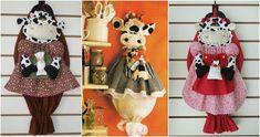 vaquita-porta-bolsas Felt Crafts, Sculptures, Christmas Ornaments, Holiday Decor, Home Decor, Sewing Ideas, Natural, Carrier Bag Holder, Baby Dolls