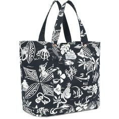 Polo Ralph Lauren Hawaiian-Print Canvas Tote ($145) ❤ liked on Polyvore featuring bags, handbags, tote bags, black, hawaiian tote bag, canvas purse, beach tote bags, canvas tote and beach tote