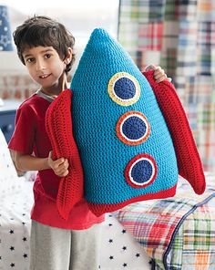 This Rocket Pillow is designed by Linda Permann ~ Pattern is available in Crochet Today! May/Jun 2012