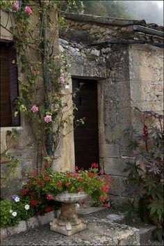 Rustic garden house with roses. #garden