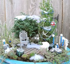 Unique and Creative Fairy Gardens • Lots of Tips and Ideas! Including, from 'janet calvo', she teaches you how to use snow in your fairy garden.