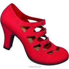 Aris Allen 1940s Women's Red Criss-Cross 3-Buckle Pump, dancestore.com