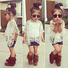 Lace top. Daisy dukes. Moccasin boots. Shades. Perfect.