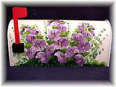 Decorative Birds Hand Painted Mailboxes | ... HOLLYHOCKS-Custom-Decorative-Hand-Painted-Mailboxes-painted-upon-order