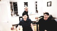 Dan and Phil put their hands up and down at the same time. That's so cute