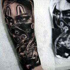 Gangster Chicano Mens Rose Flower Forearm Sleeve Tattoo
