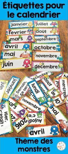 Étiquettes pour le calendrier de la classe.