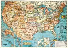 Vintage-Inspired Poster – Freckled Hen Map Wrapping Paper, Gift Wrapping, Geography Map, Vintage Friends, United States Map, 50 States, States America, Thing 1, Wall Maps