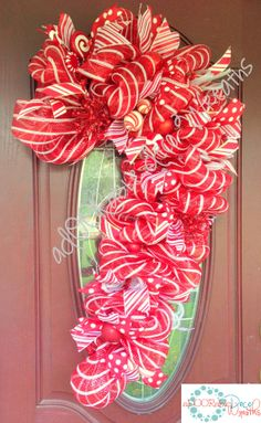 Candy Cane Wreath by aDOORableDecoWreaths on Etsy