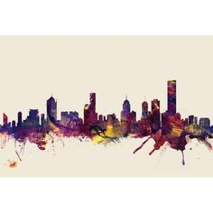 """East Urban Home Skyline Series: Melbourne, Australia by Michael Tompsett Graphic Art on Wrapped Canvas in Beige Size: 12"""" H x 18"""" W x 0.75"""" D"""