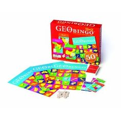 GeoBingo is a new twist on a classic game and a new way to make geography fun! The goal of GeoBingo is to get 5 countries in a row on one of the 8 GeoBingoTM Boards, then yell BINGO! GeoBingo World contains 50 country cards, representing the world's most populous nations, that show each country's capital, land area, population, and geographic location. Made in Germany, Ages 4 and Up