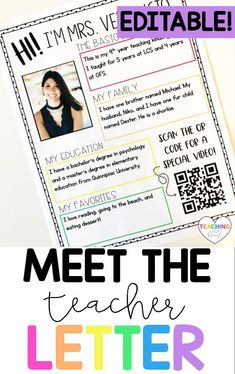 Looking for an editable meet the teacher letter that you can hand out during open house or back to school night, or mail to students before the first day of school so students and parents can to get to know you? This editable Meet the Teacher Letter is exactly what you're looking for! Letter To Teacher, Meet The Teacher, Back To School Night, First Day Of School, Elementary Teacher, Elementary Education, Getting To Know You, Teacher Newsletter, Kid Names