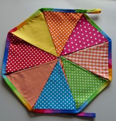 Reusable Fabric Bunting / Flags / Pennants Birthday party spots stripes and gingham bright rainbow. $30.00, via Etsy.