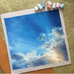 Какое пронзительное небо у @irinaart__ на курсе #пастельпро ! Не оторвать глаз