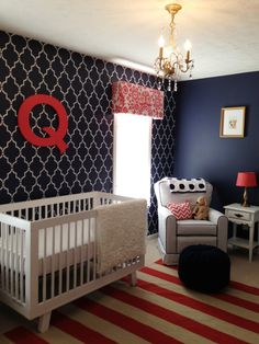 Project Details:  Wall stencil - Cutting Edge Stencils Crib - Babyletto Hudson Dresser and bookcase - Ikea Glider - Walmart Ottoman - Etsy Rug and chandelier - Overstock White dog and cat wall art and gold mirror - Homegoods Lamps shades - World Market Lamp bases and dresser hardware - Lowe's ---- love the color scheme.