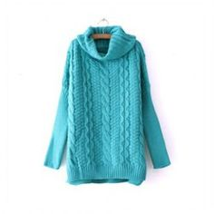 $17.66 Graceful High Neck Solid Color Long Sleeve Loose Fit Cable-Knit Sweater For Women