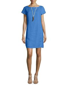 TBGQW Eileen Fisher Washable Linen Shift Dress