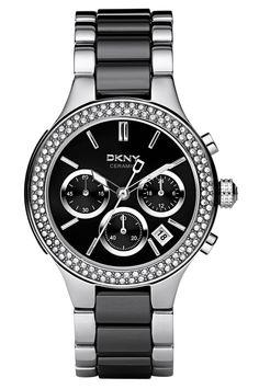 DKNY Ceramix NY8180 - Sort sølv armbåndsur med sten og i keramik