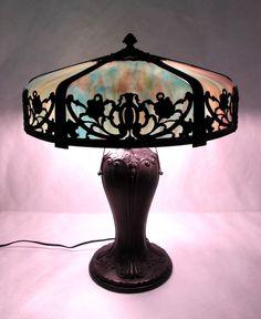 THE BEST ART NOUVEAU CHARLES PARKER MULTICOLORED BENT PANEL SLAG GLASS LAMP in | eBay