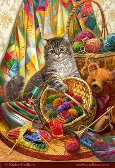 Chat avec corbeille de balles de laine multicolores; toupie, ourson / nounours et patchwork dans le décor.