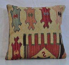 "16"" Wool Kilim Kelim Rug Decorative Throw Pillow Case Cushion Cover 5361"