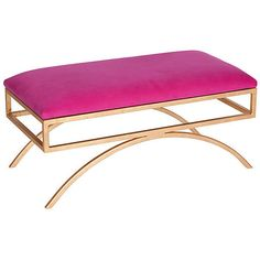Moss Studio Trojan Velvet Bench Pink Entryway Bench Bedroom Bench ($1,199) ❤ liked on Polyvore featuring home, furniture, benches, hand made furniture, velvet bench, pink bench, handcrafted furniture and handmade furniture