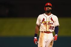 Jason Heyward stands at first base after getting his fifth hit of the game against the New York Mets in the eighth inning. Cards won 12-2. 7-18-15