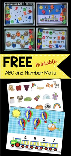 FREE printable alphabet and number matching mats - perfect for preschool - pre-k and kindergarten activities! Take with with you magnets while traveling with kids.