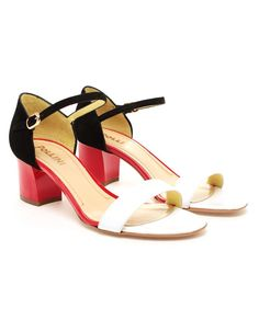 POLLINI   Patent Leather and Suede Sandal