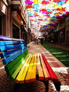 Agueda Aveiro, Portugal Photo by Taste The Rainbow, Over The Rainbow, World Of Color, Color Of Life, Umbrella Street, Rainbow Connection, Rainbow Aesthetic, Art Festival, Rainbow Colors