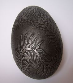 Acid etched goose eggshell with aged metal patina