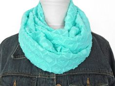 Mint Infinity Scarf Seafoam Geometric - Fashion Scarf - Circle Scarf - Back to School - Gift For Her - Christmas Gift (15.00 USD) by ModaBellaScarves