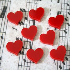 8 x Laser cut acrylic red love heart cabochons