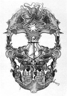 Skull tattoo idea. I sense some steampunk in there.