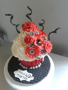 Red giant cupcake bday cake