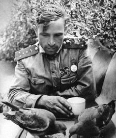 """Pilot Victor Popov feeding pigeons at rest. Author's title picture: """"In between battles. Kalinin Front"""".  Viktor Popov – the navigator of the 263rd Fighter Regiment, Captain. Born in 1913, the Red Army from 1931, a member of the Soviet- Finnish War (seriously wounded 28/02/1940)."""