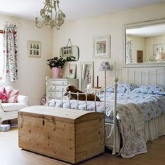 roomenvy - country cottage bedroom (focus on the chest by the foot of the bed)