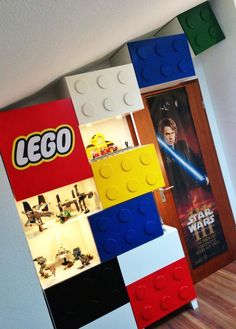 I had a LEGO logo printed on adhesive foil and attached it to the door.