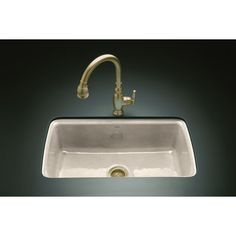 shop kohler cape dory 22in x 33in cane sugar singlebasin undermount kitchen sinkkitchen sinkscast - Cast Iron Kitchen Sinks
