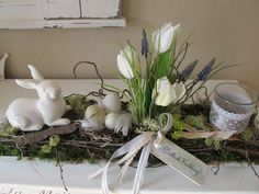 Easter decoration - long wooden tray * Easter arrangement * Easter bunny - a unique product by KRANZundCo on DaWanda Hoppy Easter, Easter Bunny, Easter Eggs, Easter Table, Easter Party, Deco Floral, Diy Easter Decorations, Easter Wreaths, Spring Crafts