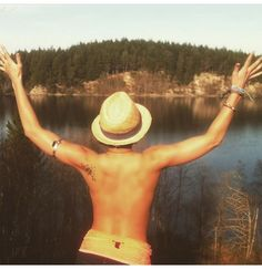 Fedora, tan, water, nature , fitness, fit, summer, tattoo, tanning, naked.