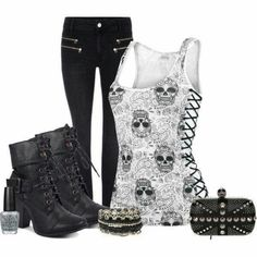 A fashion look from July 2013 featuring Modström jeans, Alexander McQueen clutches and ASOS bracelets. Browse and shop related looks. Skull Fashion, Punk Fashion, Gothic Fashion, Womens Fashion, Lolita Fashion, Komplette Outfits, Casual Outfits, Fashion Outfits, Scene Outfits