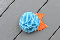 aqua gingham flower barrette by YeauxYeauxBows on Etsy, $8.00