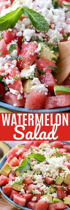 Watermelon salad is the perfect light and fresh salad! Juicy watermelon, buttery avocado, fresh mint and feta cheese are tossed in a simple dressing. #spendwithpennies #watermelonsalad #potluckrecipe #easyrecipe #summersalad #mint #avocadosalad