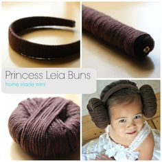 Today I offer you: DIY Princess Leia buns! But before you get the wrong idea, let me be clear: these… Star Wars Halloween, Halloween Kostüm, Diy Halloween Costumes, Costume Leia, Costume Star Wars, Princess Leia Costume Kids, Princess Leia Buns, Star Wars Baby, Aniversario Star Wars