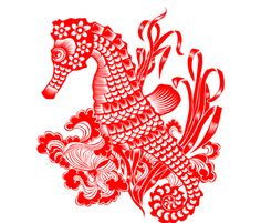 ❤ =^..^= ❤  Seahorse Chinese Paper Cutting fabric by anne-chris on Spoonflower - custom fabric