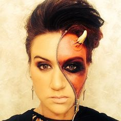 Are you looking for inspiration for your Halloween make-up? Browse around this site for creepy Halloween makeup looks. Zipper Halloween Makeup, Black Halloween Makeup, Yeux Halloween, Maquillaje Halloween, Scary Halloween Costumes, Halloween Makeup Looks, Halloween Ideas, Haunted Halloween, Halloween 2019