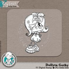 """Dollytas Collection """"Dolyta Gothy"""" Exclusive Designs by Paty Greif. Pack with 1 digi stamp"""