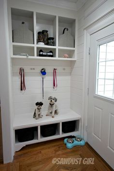 Storage Bench and Cabinets - free and easy plans from https://sawdustgirl.com.