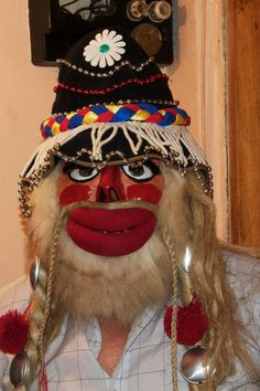 Traditional Romanian Mask Venetian Masks, Head Start, Drawing Reference, Folklore, Romania, Puppets, Captain Hat, Sculpture, Traditional